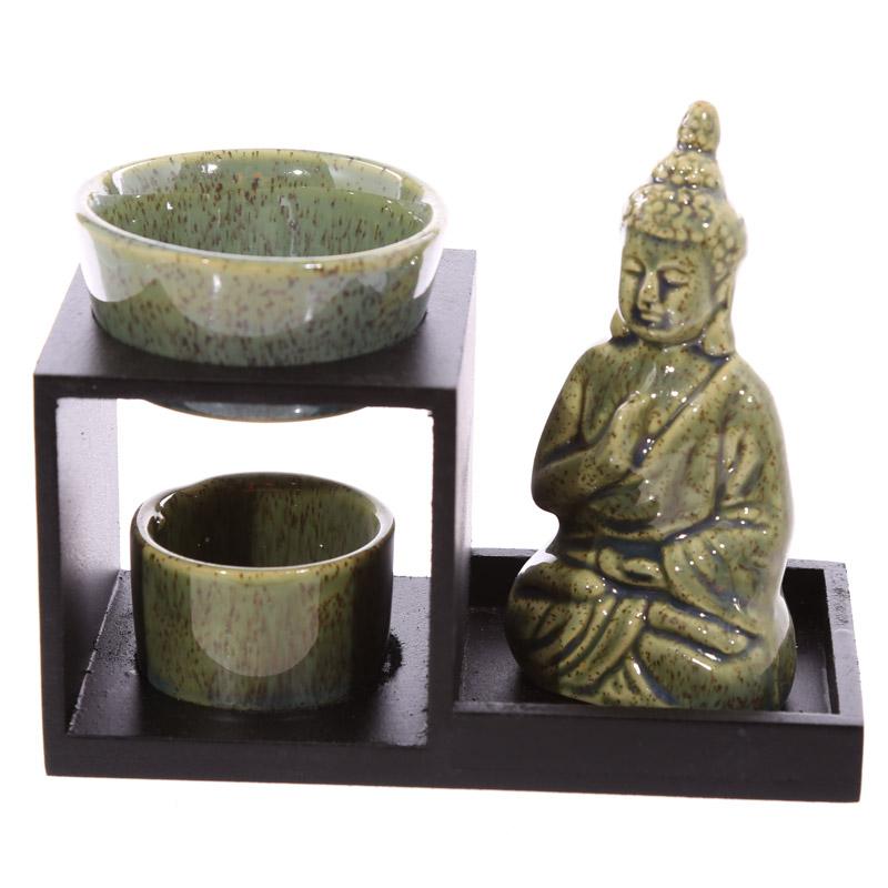 Buddha Ceramic And Wood Tiered Oil Burner Himalayan Salt