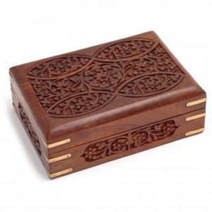 Ornate Wooden Box with Brass Corners